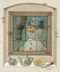 Snowman by Kestutis Kasparavicius - Snowman Painting - Snowman Fine Art Prints and Posters for Sale Winter Illustration, Watercolor Illustration, Snowman Photos, Sale Poster, Cool Posters, Christmas Art, Contemporary Artists, Find Art, Giclee Print