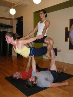 4 Person Yoga Poses : person, poses, AcroYoga, 4ppl+, Ideas, Yoga,, Partner
