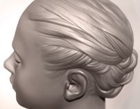 Speed-sculpting hair in ZBrush (timelapsed 3D)