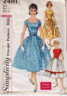 "Vintage 1950s Simple to Make Dress full skirt Simplicity 2491 bust 34"" | PenelopeRose - Supplies on ArtFire $18 #vintage #1950"