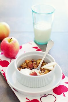 Cereal Topped Apple Date Crisp Recipe | Healthy Diet Breakfast or Dessert on FamilyFreshCooking.com © MarlaMeridith.com