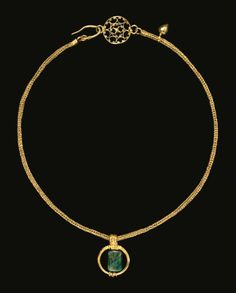 A GOLD AND EMERALD NECKLACE, PROBABLY EGYPT, LATE ROMAN OR