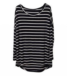White Stripe T-Shirt With Raglan Sleeves