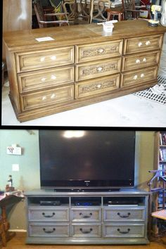 Cheap ugly dresser 20 bux!! I antiqued and updated it, now I have a beautiful entertainment center!!