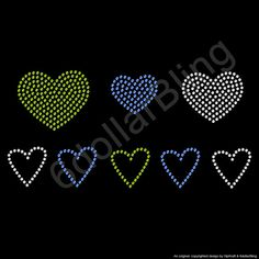 Rhinestone Iron On Transfer Heart Collection Green by 6dollarBling, $5.99  https://www.etsy.com/listing/127796245/rhinestone-iron-on-transfer-heart?utm_source=google&utm_medium=product_listing_promoted&utm_campaign=accessories_low&gclid=CPOYjIP1670CFchQ7AodrWIAww