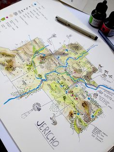 """Alex Hotchin: """"Mapping the family farm. It's amazing what you notice when you take a closer look. Study Notes, Cartography, Map Art, Concept, How To Plan, Amazing, Closer, Maps, Illustration Styles"""