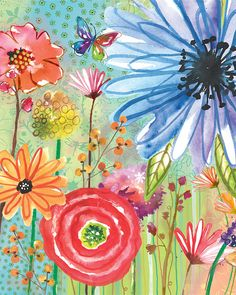 Watercolor Flower Print by Lori Siebert, Colorful, Whimsical, Mixed Media, Bright, Lori Seibert, JOY