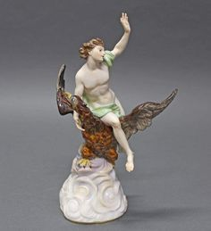 """Porzellanfigur, """"Raub des Ganymed"""", Meissen, Schwertermarke, 1850-1924, 1. Wahl, Modellnummer 530, p"""