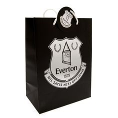Large Card Gift Bag With Tag Silver Printed Crest Metal Eyelets Approx X Official Licensed Product Product model: Everton Fc, Uk Football, Bags Uk, Gift Bags, Birthday Cards, Gift Wrapping, Printed, Metal, Silver