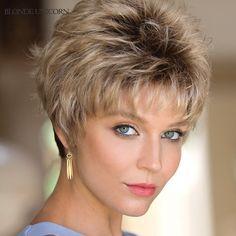 Short Hair Over 60, Short Grey Hair, Short Hair With Bangs, Short Hair With Layers, Short Wavy, Wavy Hair, Wavy Pixie, Blonde Hair, Short Blonde