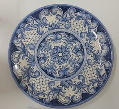 Blue and white serving plate