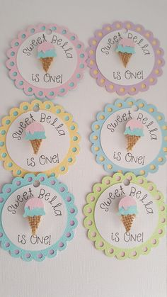 Ice cream cone favor tags, Ice Cream birthday - 산 츠 - Beyond Binary Ice Cream Theme, Ice Cream Party, Popcorn Favors, Party Favors, Happy Birthday Banners, 1st Birthday Parties, Ice Cream Cupcakes, Good Healthy Recipes, Healthy Food