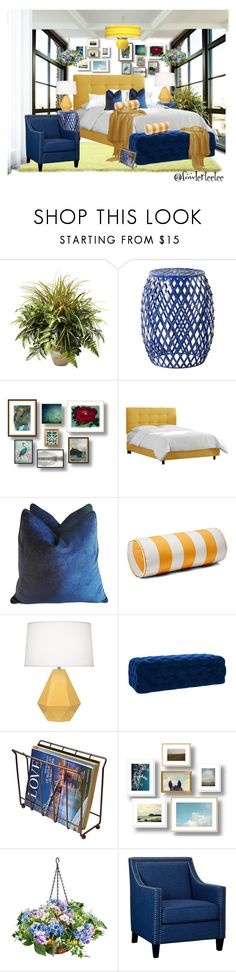 """Blue and Yellow, #2"" by fowlerteetee ❤ liked on Polyvore featuring interior, interiors, interior design, home, home decor, interior decorating, Nearly Natural, Safavieh, Skyline and Robert Abbey"
