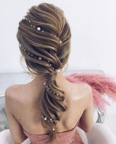 Idée Tendance Coupe & Coiffure Femme 2018 : : 53 Fabulous Ideas of Wedding Hairstyles & Haircuts in 2018 - wedding and engagement photo Hairstyles Haircuts, Pretty Hairstyles, Braided Hairstyles, Mermaid Hairstyles, Hairstyle Ideas, Perfect Hairstyle, Ponytail Hairstyles For Prom, Fairy Hairstyles, Classic Updo Hairstyles