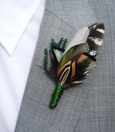 THE HUNTSMAN   No.  02 handsome feather boutonniere