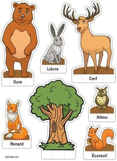 French resources, animals and pets, animals for kids, read in french, learn Animal Crafts For Kids, Animals For Kids, Animals And Pets, Fun Facts About Animals, Animal Facts, Paper Toys, Paper Crafts, Forest Animals, Preschool Activities