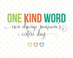 One Kind Word printable from landeelu.com