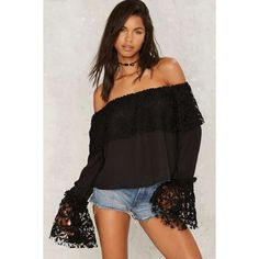 Take Up Space Off-the-Shoulder Top ($58) ❤ liked on Polyvore featuring tops, black, relaxed fit tops, chiffon crop top, cropped tops, off the shoulder tops and off shoulder crop top
