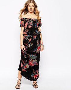 5664bdef097879 FIRST AND I asos OFF SHOULDER MAXI DRESS Floral Boho Hippie Festival  Sundress  FIRSTANDI