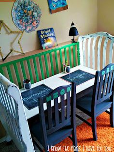 Great reuse of an old crib. Transform it into a homework/craft station for your kid(s)!