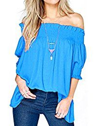 New Relipop Women's Fashion Off Shoulder Tops Haft Sleeve Blouses Causal T-shirts online. Find the perfect Verdusa Tops-Tees from top store. Sku PXKP72355LVYH48586