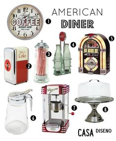 Chosen by Casa Diseno LLC Decoration Inspiration: American Diner The little things. American Diner Kitchen, 1950 American Diner, 50s Diner Kitchen, Retro Kitchens, 1950 Diner, Vintage Diner, Vintage Kitchen, Vintage Store, Diner Decor