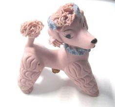 Vintage 1950's Pink Spaghetti Ceramic Poodle Salt Shaker Figurine
