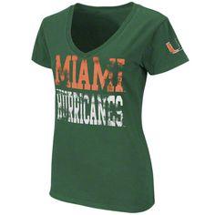 Miami Hurricanes Women's Green Rush V-Neck T-Shirt