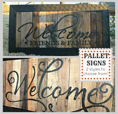 Distressed/Hand Painted Pallet Wood Welcome Sign. I love the top one Pallet Painting, Pallet Art, Pallet Ideas, Diy Pallet, Pallet Crafts, Wood Crafts, Rustic Crafts, Recycled Crafts, Rustic Signs