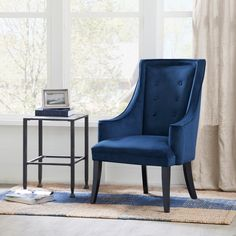 The navy and white accent chair in fact can boost your home look since its neutrality. You can make a great design with simple touch. New Living Room, Living Room Chairs, Living Room Furniture, Living Room Decor, Dining Chairs, Dining Room, Arm Chairs, Navy Accent Chair, Accent Chairs Under 100