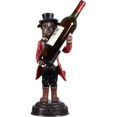 """Dog-themed wine bottle holder.Product: Wine bottle holderConstruction Material: ResinColor: MultiDimensions: 18.5"""" H x 10"""" W x 9.25"""" DCleaning and Care: Wipe with soft dust cloth"""