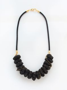 black fabric necklace with chain