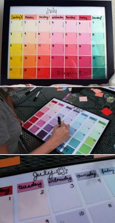 Dorm Room Hacks and Tips - Get creative! This DIY Paint Strip Calendar is so creative! More College Tips on Frugal Coupon Living.