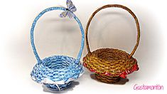 Tutorial of nice and simple basket from newspaper or paper. To make this basket you need 40 tube paper from one color and 10 from the other color or u can ma. Newspaper Basket, Newspaper Crafts, Quilled Roses, Rolled Paper Art, Book Baskets, Recycled Magazines, Basket Crafts, Paper Weaving, How To Make Paper