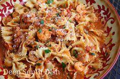 Deep South Dish: Shrimp and Bowties in Fresh Tomato Basil Cream Sauce
