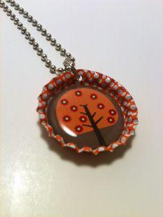 Orange Tree Bottle cap necklace by LillypadPark on Etsy, $4.95