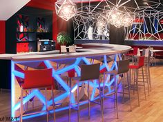 16- Led verlichting bar : Horeca meubilair, horeca interieur en horeca interieurdesign Bar, Furniture, Table, Home Decor, Retail Counter, Products, Light Fixtures, Decoration Home, Room Decor