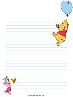 Winnie the Pooh Printables Disney Winnie the Pooh Printables - Invitations, Cards, Stationary . Printable Lined Paper, Free Printable Stationery, Winnie The Pooh Pictures, Notebook Paper, Paper Frames, Stationery Paper, Disney Crafts, Note Paper, Writing Paper