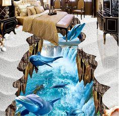 Personalizado 3d piso pintura Golfinho Cai pvc pisos pisos de vinil murais de parede para sala de estar 3d estereoscópico 3d papel de parede(China (Mainland))