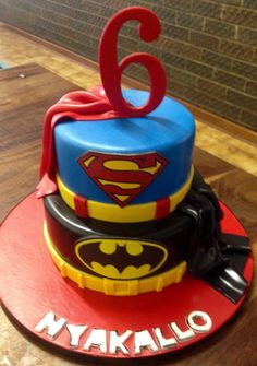 Bat Man And Super Man Birthday Cakes