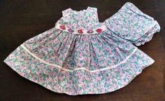 Vtg Ana Baby Girl Dress Bloomers 6-9M Pink Floral Print Satin Ribbon Roses USA #Ana #FormalParty
