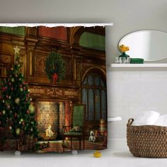Home Decor Xmas Merry Christmas Tree and Fireplace Pattern Bathroom Waterproof Bath Shower Curtain #Affiliate