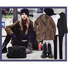 City Street by carchaney on Polyvore featuring Vanessa Bruno, American Vintage, Barbour, CC, Dr. Martens, Rebecca Minkoff, River Island, combat boots, trench coats and slouchy t-shirts