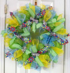 Spring mesh wreath with butterfly
