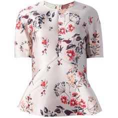 STELLA MCCARTNEY floral peplum blouse (39.270 RUB) found on Polyvore featuring tops, blouses, blusas, shirts, floral peplum top, peplum shirt, shirts & blouses, floral print shirt and short sleeve shirts