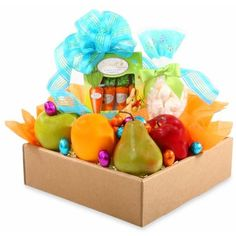 The Gifting Group Clear Easter Fresh Fruit Gift Basket ($40) ❤ liked on Polyvore featuring home, home decor, holiday decorations, clear and easter home decor