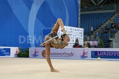 Sakura Hyakawa (JPN) performing the hoop routine during the FIG Rhythmic Gymnastic World Cup series Pesaro 2014.