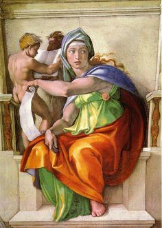 books0977:  Delphic Sibyl (detail from the Sistine Chapel Ceiling), 1508-12. Michelangelo (Italian, 1475-1564).