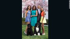 President Barack Obama is pictured with first lady Michelle and their daughters Malia, 16, (left) and Sasha, 13, (right).