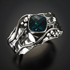 Green Topaz in hand fabricated/foldformed and forged sterling silver cuff bracelet. sold